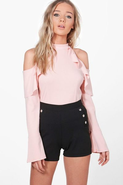 Boohoo Julia Frill Detail Cold Shoulder Top in nude - Steal the style top spot in a statement separate from...