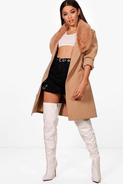 BOOHOO June Faux Fur Collar Coat - Wrap up in the latest coats and jackets and get out-there...