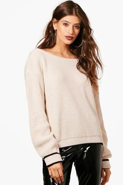 Boohoo Kacy Turn Up Cuff Slash Neck Jumper in stone - Nail new season knitwear in the jumpers and cardigans...