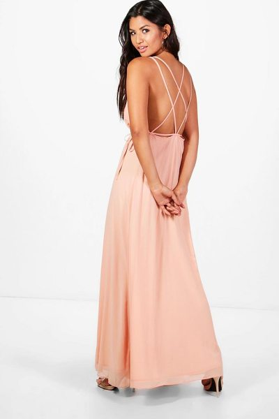 Boohoo Chiffon Strappy Back Maxi Dress in blush - Dresses are the most-wanted wardrobe item for...