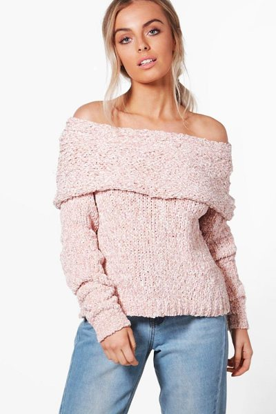 Boohoo Chunky Bardot Jumper in blush - Nail new season knitwear in the jumpers and cardigans...
