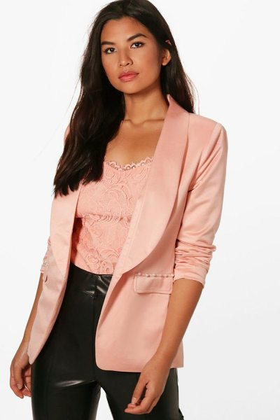Boohoo Pearl Button Detail Tailored Blazer in rose - Wrap up in the latest coats and jackets and get...