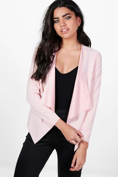 Boohoo Kaley Waterfall Scuba Crepe Blazer in nude - Wrap up in the latest coats and jackets and get...