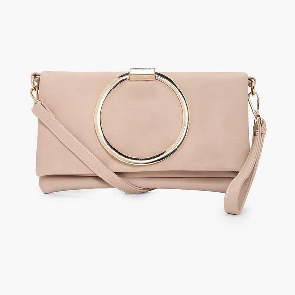 Boohoo Karen Large Ring Cross Body Bag in blush - Add attitude with accessories for those fashion-forward...