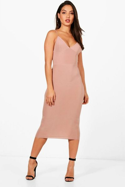 Boohoo Slinky Bodycon Midi Dress in mink - Dresses are the most-wanted wardrobe item for...