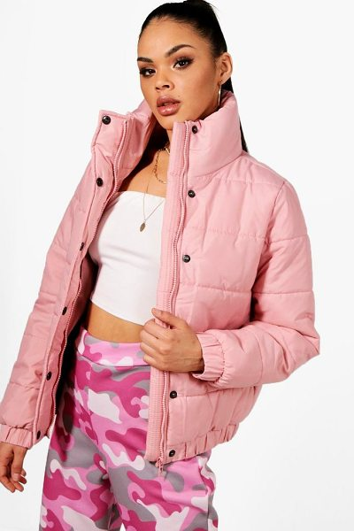 BOOHOO Karina Crop Funnel Neck Padded Jacket - Just because it's raining outside doesn't mean you have to...