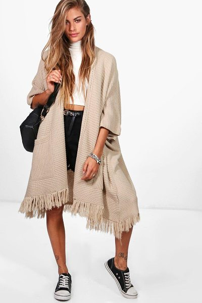 Boohoo Tassel Hem Cape Cardigan in stone - Nail new season knitwear in the jumpers and cardigans...
