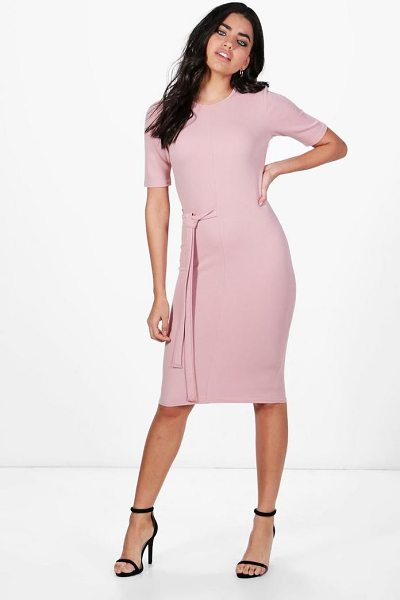 Boohoo Karina Tie Waist Midi Dress in rose - Dresses are the most-wanted wardrobe item for...