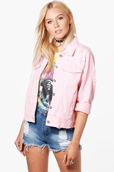 BOOHOO Karla Oversize Distressed Denim Jacket - Wrap up in the latest coats and jackets and get...
