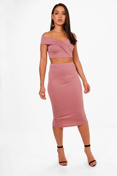 Boohoo Kat Off Shoulder Crop and Skirt Co-ord in rose dust - Co-ordinates are the quick way to quirky this seasonMake...