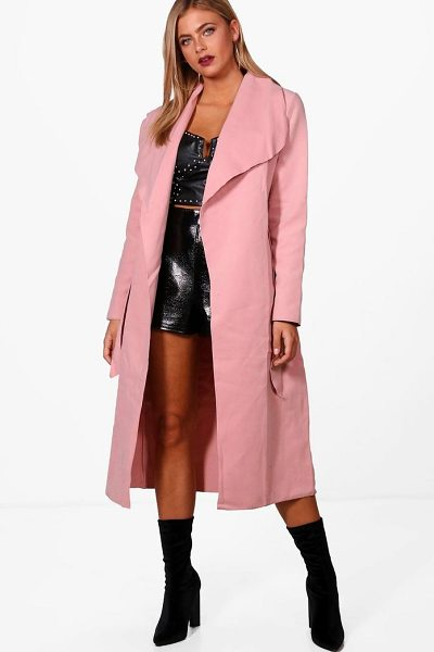 Boohoo Belted Shawl Collar Coat in pink - Wrap up in the latest coats and jackets and get...