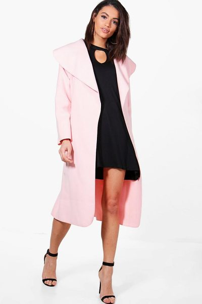 BOOHOO Belted Shawl Collar Coat in nude - Wrap up in the latest coats and jackets and get...