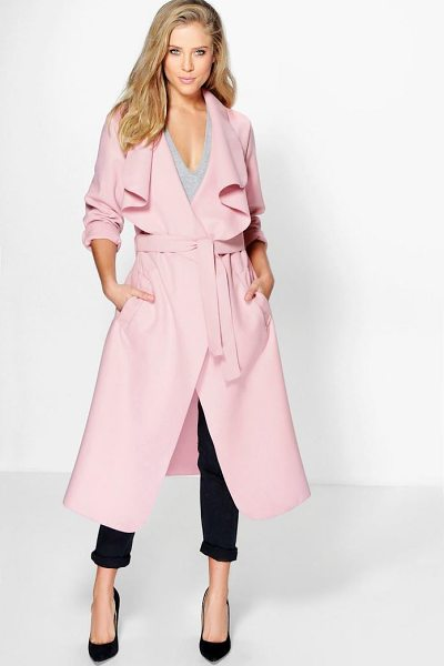 Boohoo Kate Belted Shawl Collar Coat in pink - Wrap up warm in the latest wool look outerwear. A...