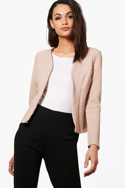 Boohoo Kate Jacquard Crop Blazer in stone - Add some classic tailoring to your wardrobe for...