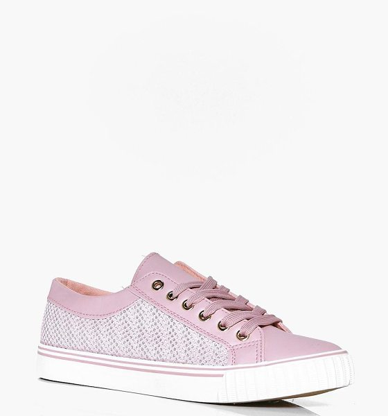 Boohoo Kate Mesh Insert Lace Up Trainer in pink - We'll make sure your shoes keep you one stylish step...