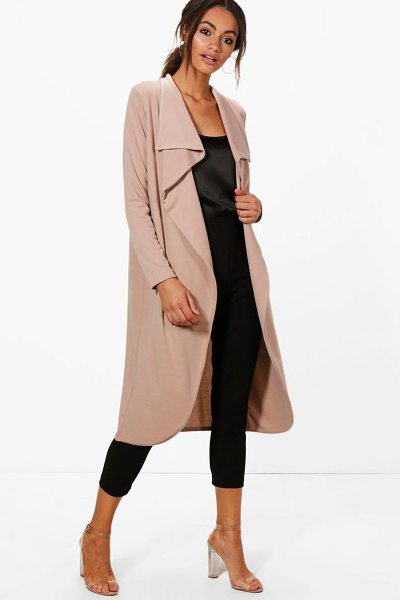 Boohoo Kate Ponte Wrap Front Duster Jacket in sand - Wrap up in the latest coats and jackets and get...