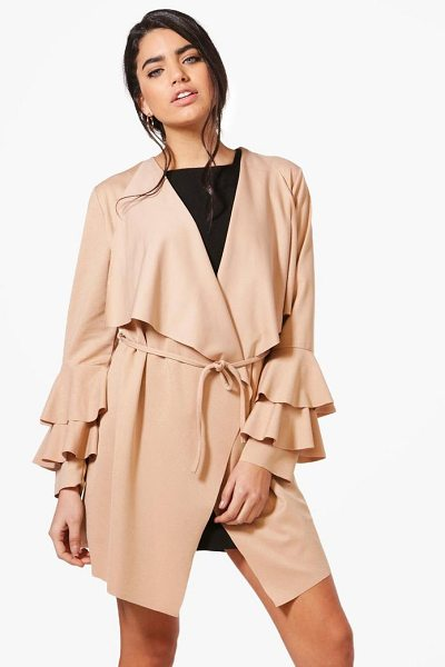 BOOHOO Kate Ruffle Sleeve Belted Duster - Wrap up in the latest coats and jackets and get...