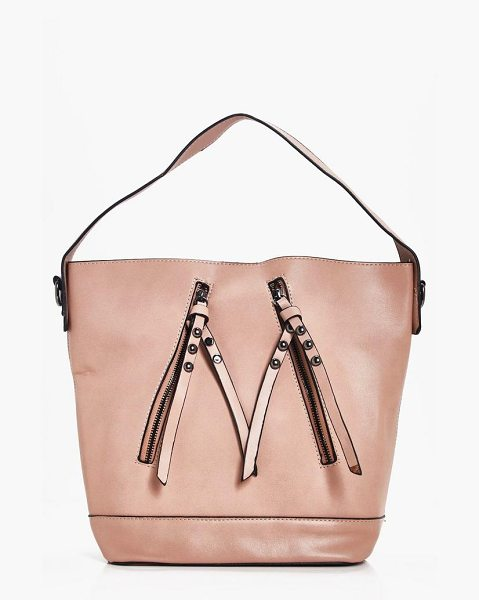 Boohoo Kate Zip Detail Day Bag in beige - Add attitude with accessories for those fashion-forward...