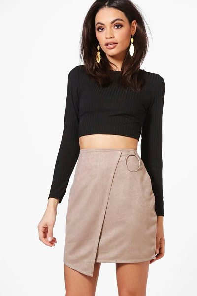 BOOHOO Katiah Ring Detail Suedette Asymetric Mini Skirt - Skirts are the statement separate in every wardrobe This...