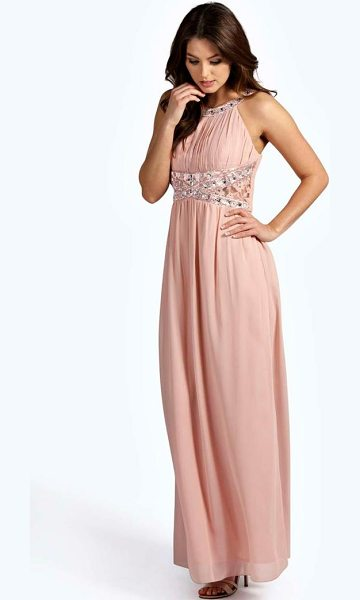 Boohoo Embellished Lace Detail Chiffon Maxi Dress in blush - Dresses are the most-wanted wardrobe item for...