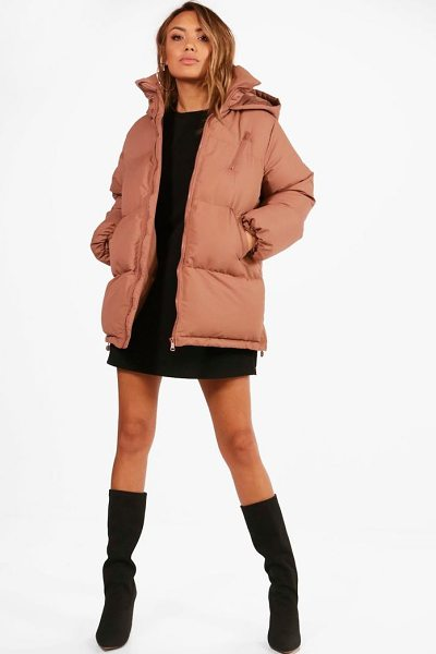 Boohoo Katie Hooded Padded Coat in mocha - Wrap up in the latest coats and jackets and get...
