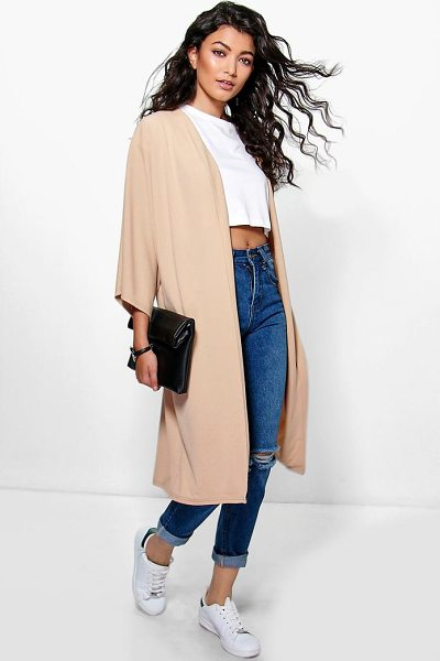 Boohoo Katie Kimono Sleeve Collarless Duster in stone - Wrap up in the latest coats and jackets and get...