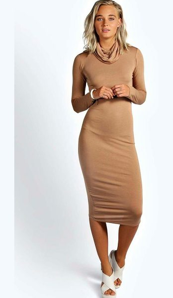 Boohoo Katie Roll Neck Long Sleeve Midi Dress in camel - Dresses are the most-wanted wardrobe item for...