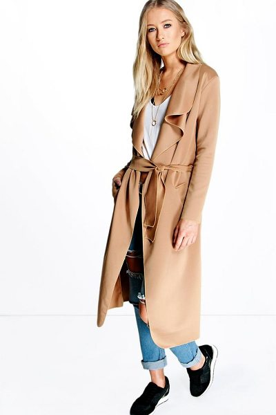 BOOHOO Katie Shawl Collar Belted Duster - Wrap up in the latest coats and jackets and get...