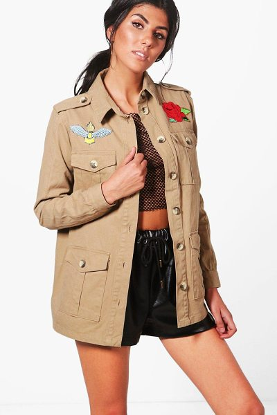 Boohoo Kaya Embroidered Utility Jacket in stone - Wrap up in the latest coats and jackets and get...
