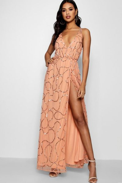 Boohoo Plunge Wrap Sequin Maxi Dress in apricot - Dresses are the most-wanted wardrobe item for...