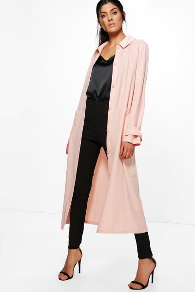 Boohoo Keira Maxi Utility Duster Shacket in nude - Wrap up in the latest coats and jackets and get...
