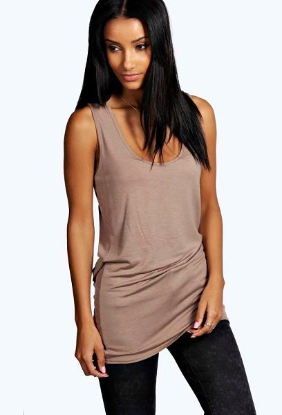 Boohoo Basic Racer Back Longline Vest in mocha - Steal the style top spot in a statement separate from...