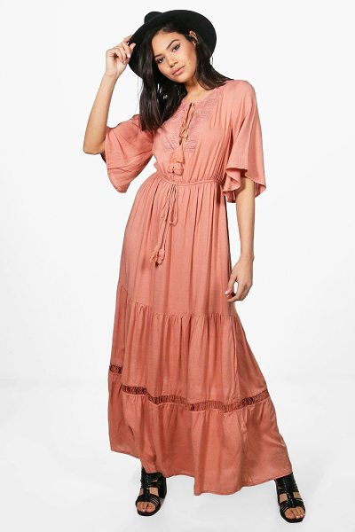 BOOHOO Keley Angel Sleeve Lace Panel Maxi Dress - Keley Angel Sleeve Lace Panel Maxi Dress antique rose