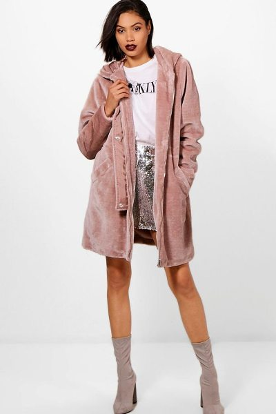 Boohoo Faux Fur Parka in mink - Wrap up in the latest coats and jackets and get...