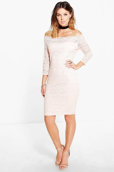 BOOHOO Kelly Lace Bardot Midi Dress - Pared back day dresses are the perfect base for layering...