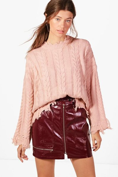 Boohoo Kelly Oversized Cable Knit Jumper in mocha - Nail new season knitwear in the jumpers and cardigans...
