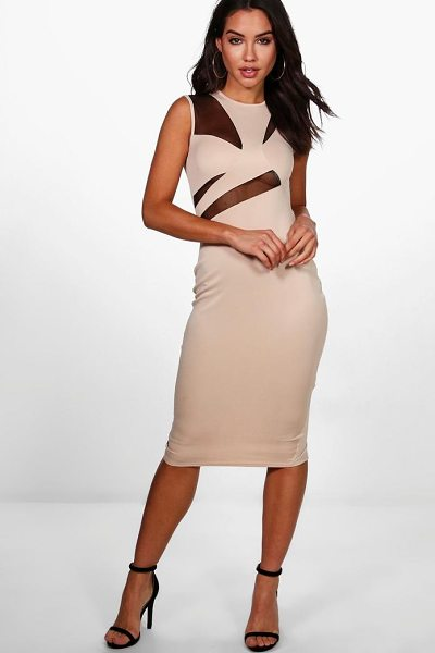 BOOHOO Kelsey Mesh Structured Top Midi Dress - Dresses are the most-wanted wardrobe item for day-to-night...