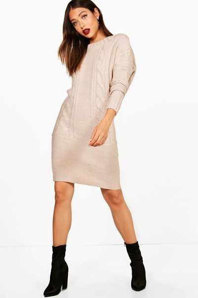 Boohoo Kelsie Batwing Jumper Dress in beige - Dresses are the most-wanted wardrobe item for...