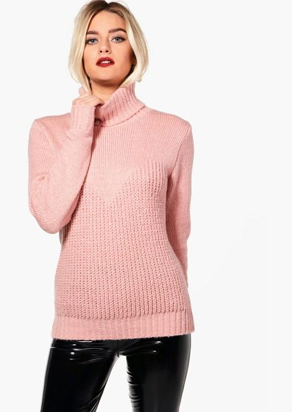 Boohoo Kerry Contrast Stitch Roll Neck Oversized Jumper in mink - Nail new season knitwear in the jumpers and cardigans...