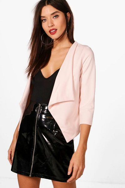 Boohoo Kerry Shawl Collar Blazer in nude - Wrap up in the latest coats and jackets and get...