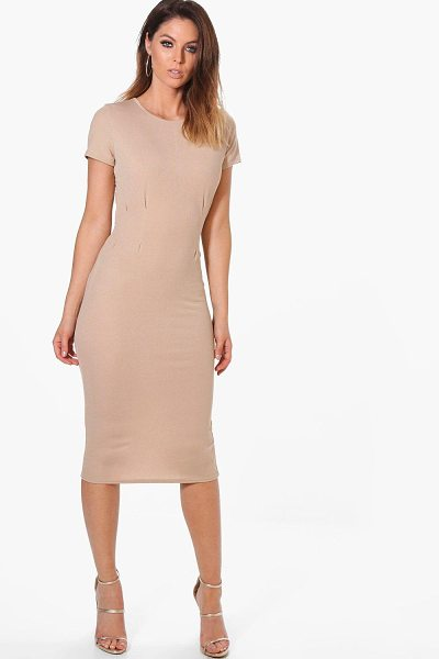 Boohoo Kerry Tie Waist Fitted Dress in stone - Dresses are the most-wanted wardrobe item for...