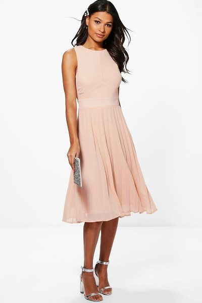 Boohoo Chiffon Pleated Skirt Midi Skater Dress in blush - Every girl's wardrobe should include a skater dress. A...