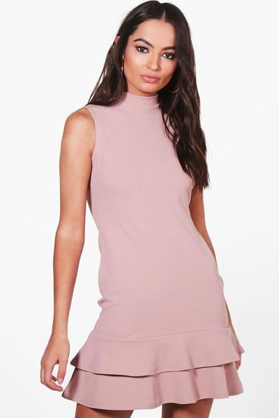 Boohoo Sleeveless Ruffle Hem Bodycon Dress in mink - Dresses are the most-wanted wardrobe item for...