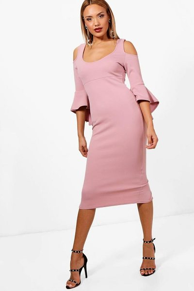 Boohoo Open Shoulder Frill Midi Dress in mauve - Dresses are the most-wanted wardrobe item for...