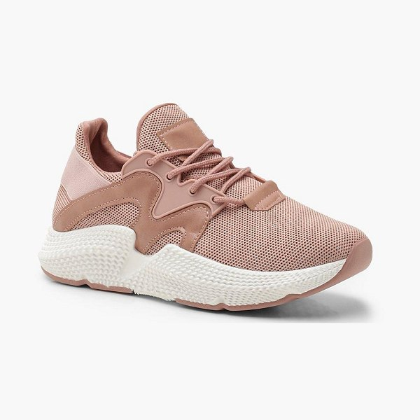 Boohoo Knitted Chunky Sports Sneakers in pink