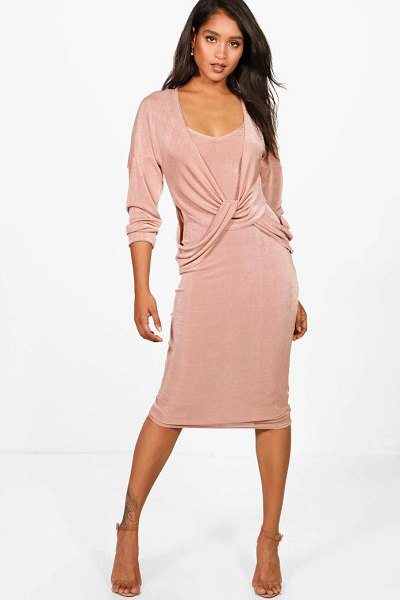 Boohoo Knitted Slinky Knot Jumper & Dress in stone - Co-ordinates are the quick way to quirky this seasonMake...