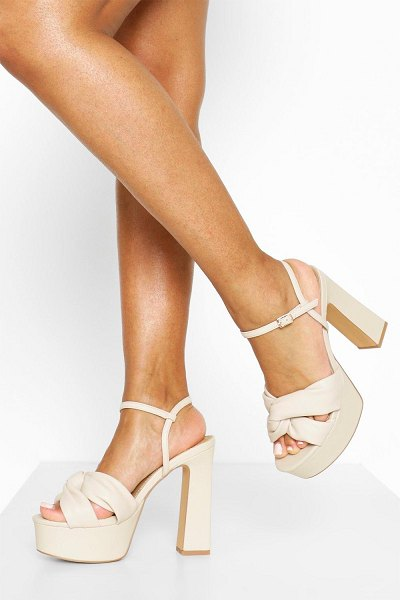 Boohoo Knot Front High Platform Heels in cream