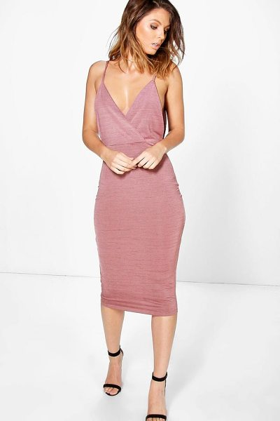 BOOHOO Kylia Drape Cowl Textured Slinky Midi Dress - Dresses are the most-wanted wardrobe item for...
