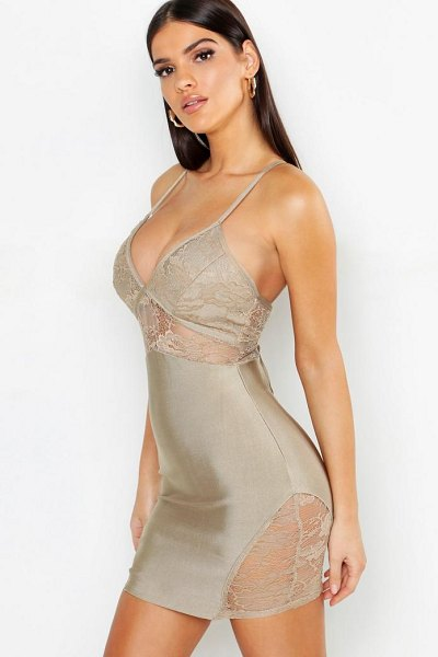 Boohoo Lace Detail Strappy Bandage Bodycon Dress in nude - Dresses are the most-wanted wardrobe item for...