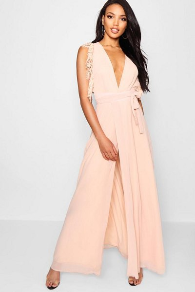 Boohoo Lace Detail Wrap Maxi Dress in blush - Dresses are the most-wanted wardrobe item for...